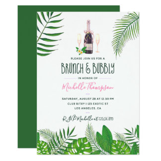 Tropical Watercolor Brunch & Bubbly Bridal Shower Card