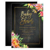 Tropical Watercolor Chalk Gold Baby Shower Invitation