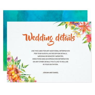 Hawaiian Themed Tropical Watercolor Chic Summer Wedding Details Card