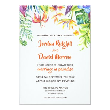 Hawaiian Themed Tropical Watercolor Destination Wedding Invitation