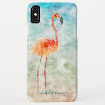 Tropical Watercolor Flamingo Beach iPhone XS Max Case