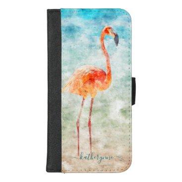 Tropical Watercolor Flamingo Beach iPhone 8/7 Plus Wallet Case
