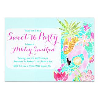 Tropical watercolor flamingo pineapple Sweet 16 Card
