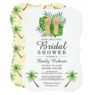 c219cf7ca902d Tropical Watercolor Flip Flops Bridal Shower Invitation
