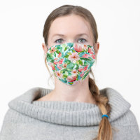 Tropical Watercolor Floral Cloth Face Mask
