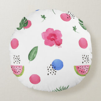 Tropical Watercolor Flower Pattern Round Pillow