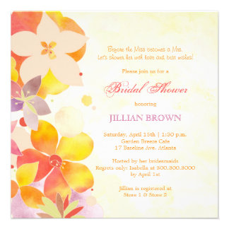 Tropical Watercolor Flowers Bridal Shower Invites