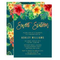 Tropical Watercolor Flowers Sweet 16 Birthday Card