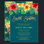 "Tropical Watercolor Flowers Sweet 16 Birthday Invitation<br><div class=""desc"">Modern tropical sweet 16 birthday party invitations. Design features beautiful watercolor flowers and leaves. A trendy design for a sweet sixteen luau party.</div>"