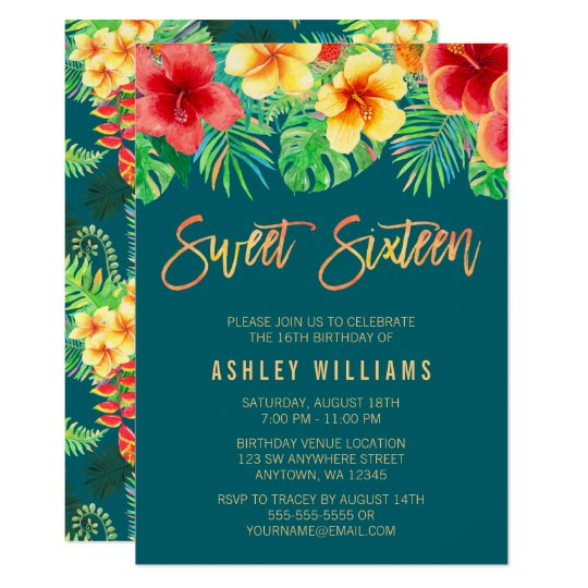 watercolor tropical leaves frame sweet 16 party invitation zazzle