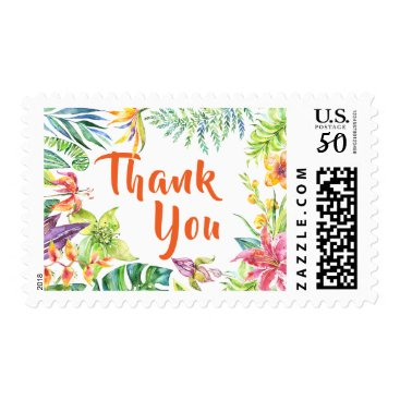 Beach Themed Tropical Watercolor Flowers Thank You Postage