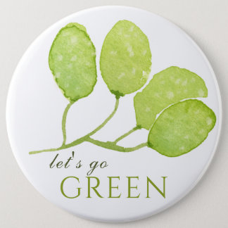TROPICAL WATERCOLOR FOLIAGE LEAF LET'S GO GREEN BUTTON