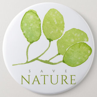 TROPICAL WATERCOLOR FOLIAGE LEAF SAVE NATURE PINBACK BUTTON
