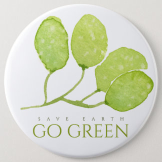 TROPICAL WATERCOLOR FOLIAGE SAVE EARTH GO GREEN BUTTON