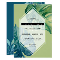 Tropical Watercolor Foliage Wedding Invitation