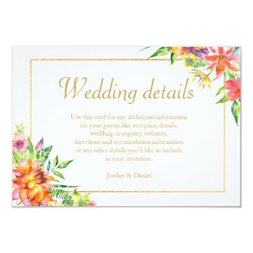 Hawaiian Themed Tropical Watercolor Gold  Frame Wedding Details Card