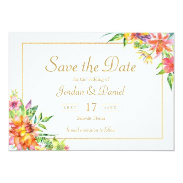 Hawaiian Themed Tropical Watercolor Gold  Frame Wedding invitation
