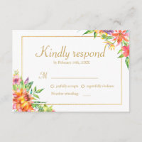 Tropical Watercolor Gold  Frame Wedding RSVP