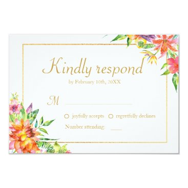 Hawaiian Themed Tropical Watercolor Gold  Frame Wedding RSVP Card