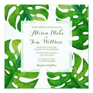 Tropical Watercolor leaves wedding invitation