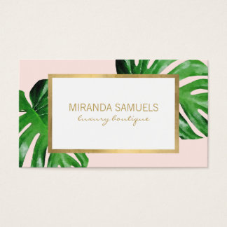 Tropical Watercolor Monstera Leaves Boutique Pink Business Card