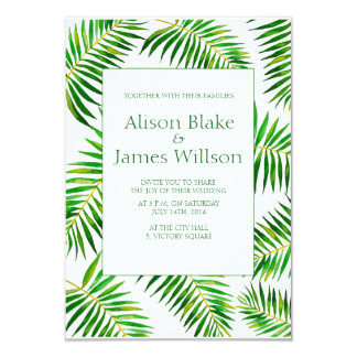 Tropical Watercolor palm leaves wedding invitation
