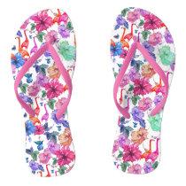 Tropical Watercolor Pattern Flip Flops