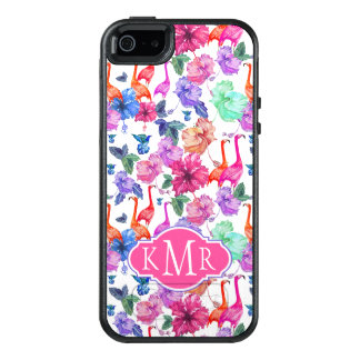 Tropical Watercolor Pattern | Monogram OtterBox iPhone 5/5s/SE Case
