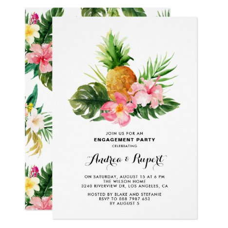 Tropical Watercolor Pineapple Engagement Party Invitation