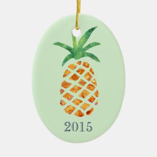 Tropical Watercolor Pineapple Green Keepsake Year Ceramic Ornament