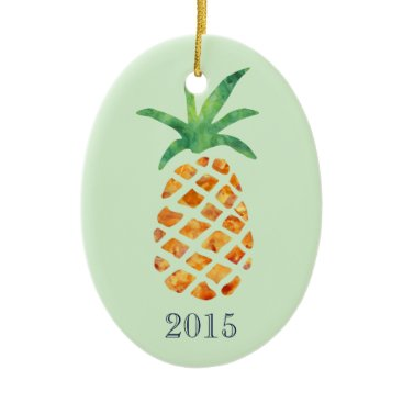 Christmas Themed Tropical Watercolor Pineapple Green Keepsake Year Ceramic Ornament