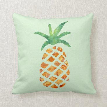 Beach Themed Tropical Watercolor Pineapple | Green Throw Pillow