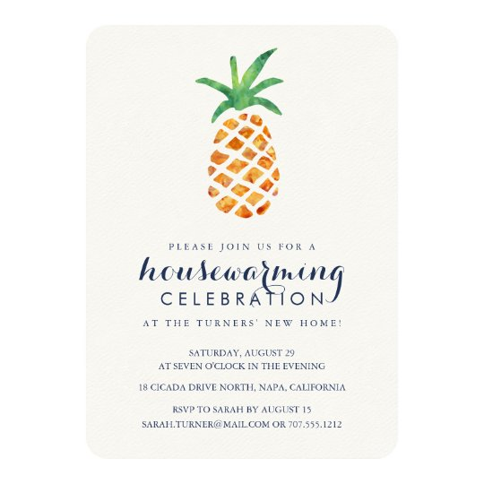 Tropical Watercolor Pineapple Housewarming Party Card | Zazzle.com