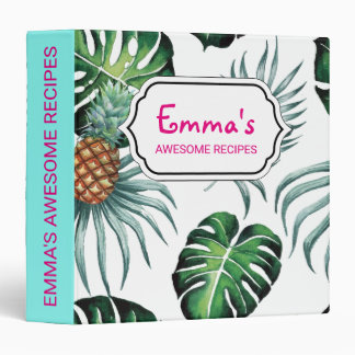 Tropical watercolor pineapple painting on white binder