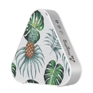 Tropical watercolor pineapple painting on white bluetooth speaker
