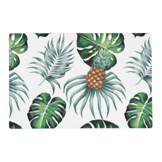Tropical watercolor pineapple painting on white placemat