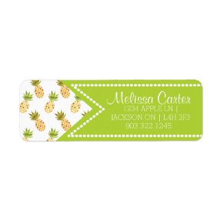 Tropical Watercolor Pineapple Pattern Label