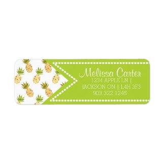 Tropical Watercolor Pineapple Pattern Label