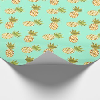 Tropical Watercolor Pineapple Pattern Wrapping Paper