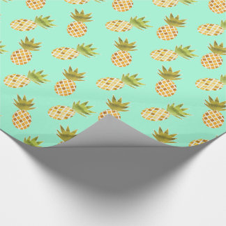 Tropical Watercolor Pineapple Pattern Gift Wrap