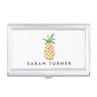 Tropical Watercolor Pineapple Personalized Business Card Case