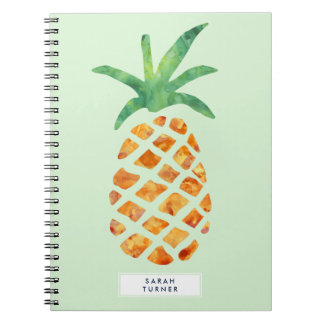 Tropical Watercolor Pineapple Personalized Spiral Notebook