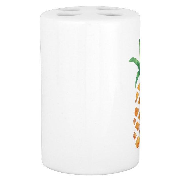 tropical watercolor pineapple soap dispenser  u0026 toothbrush