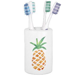 Tropical Watercolor Pineapple Soap Dispenser & Toothbrush Holder