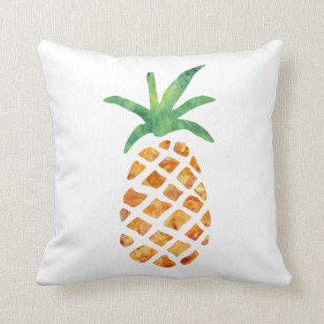 Beach Themed Tropical Watercolor Pineapple Throw Pillow