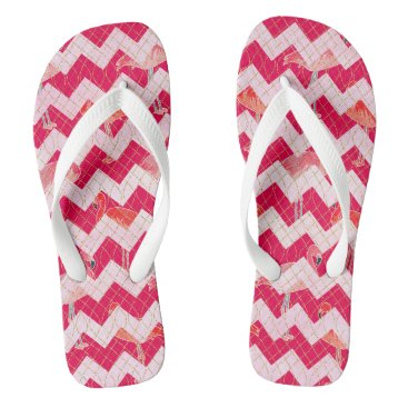 Beach Themed Tropical Watercolor Pink Flamingo Gold Chevron Flip Flops