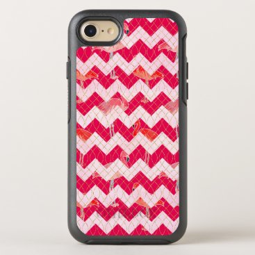 Beach Themed Tropical Watercolor Pink Flamingo Gold Chevron OtterBox Symmetry iPhone 8/7 Case