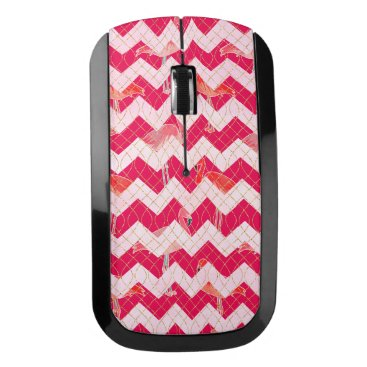 Beach Themed Tropical Watercolor Pink Flamingo Gold Chevron Wireless Mouse