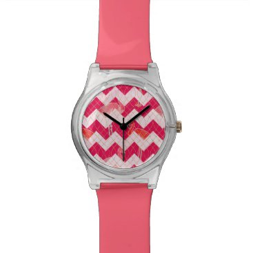 Beach Themed Tropical Watercolor Pink Flamingo Gold Chevron Wristwatch