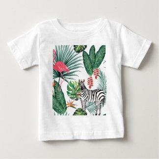 Tropical Watercolor Print- Zebra and Flamingo Baby T-Shirt